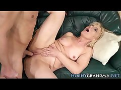 Blonde gilf mouth jizzed